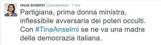 Il tweet della presidente della Camera Laura Boldrini.