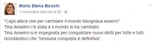 Il post del ministro delle Riforme e delle Pari Opportunità Maria Elena Boschi sulla sua bacheca Facebook.