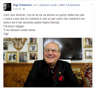 Il post sulla bacheca Facebook del cantante.