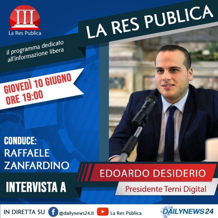 Edoardo Desiderio ospite de 'La Res Publica' giovedì 10 giugno 2021